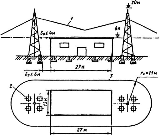 Рис. П4.2. Молниезащита здания I категории отдельно стоящим двойным стержневым молниеотводом (ρ = 300 Ом·м, Sв ≤ 4 м, Sз ≤ 6 м):
