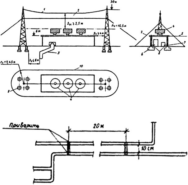 Рис. П4.3. Молниезащита здания I категории отдельно стоящим тросовым молниеотводом (ρ = 300 Ом·м, Sâ ≤ 4 м, Sз ≤ 6 м, Sв1 ≥ 3,5 м):