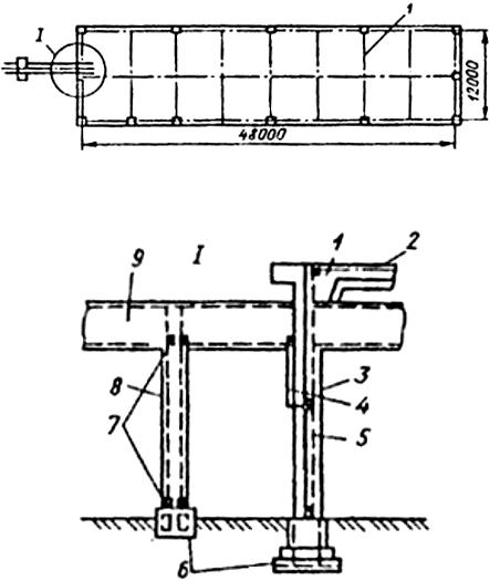 Рис П4.4. Молниезащита здания II категории сеткой, уложенной на кровлю под гидроизоляцию: