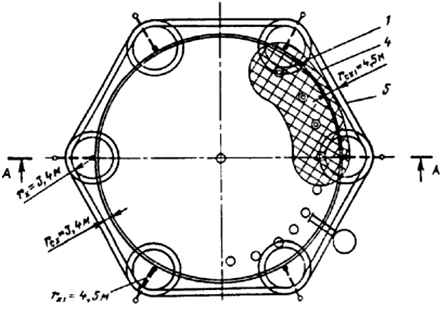 Рис, П4.7. Молниезащита металлического резервуара вместимостью 20 тыс. м3 со сферической крышей: