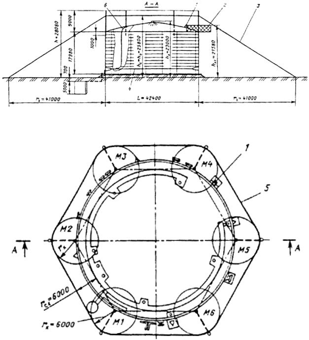 Рис. П4.8. Молниезащита металлического резервуара вместимостью 20 тыс. м3 со сферической крышей и понтоном: