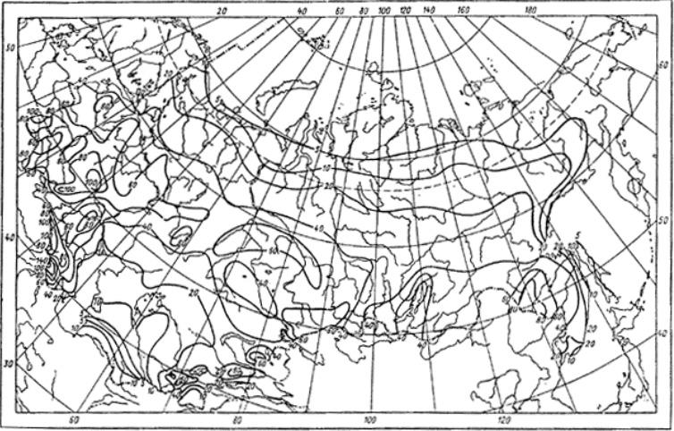 Рис. 3. Карта средней за год продолжительности гроз в часах для территории СССР